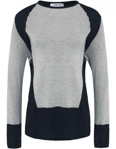 Helmut Lang Angora Panelled Sweater M BLK/CREM