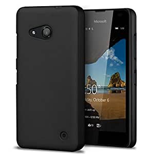 WOW Imagine™ Rubberised Matte Hard Case Back Cover For Microsoft Nokia Lumia 550 - Pitch Black