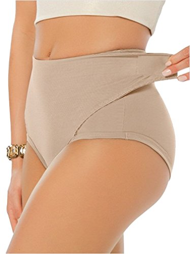 YIANNA Women's High Waist Adjustable Belly Wrap Postpartum Control Panties Slimmer Shapewear Briefs, YA7109-Beige-M