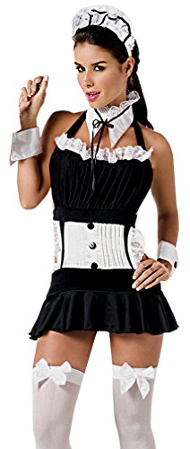 Q-Lingerie, Women's Sexy Maid Black White Costume Lace Skirt Wrist Cuffs CS66