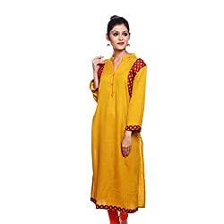 Saamarth Impex Women Cotton Yellow Color Embroidery Work Collar Neck Long Straight Style Kurti SI-2866