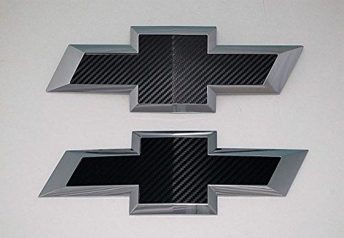 2016 Silverado 1500 Black Carbon fiber vinyl billet aluminum bowtie grille and tailgate emblems (Silverado Bowtie Vinyl compare prices)
