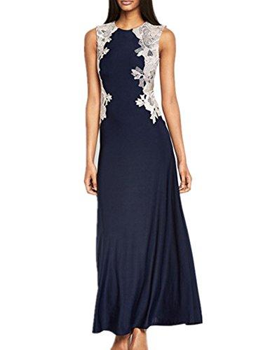 Allbebe Women's Round Neck Lace Stitching Sleeveless Maxi Evening Dress L Blue