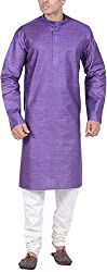 Kisah Men's Cotton Linen Kurta (KA-S-075-40_Purple_40)