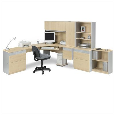 Bestar 8361 Classic Corner Desk with Two Files and Bookcase