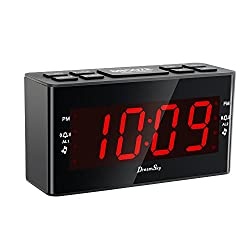 DreamSky FM Clock Radio With Dual Alarms And Sleep Timer ,Large Number Display,Battery Backup