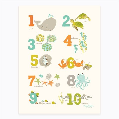 "Sea Urchin Studio Numbers Art Poster, Sea and Shore/Unisex, 12"" x 16"""
