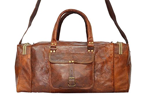 Vintage Bag Genuine Leather Travel Duffle Outdoor Luggage Bag in Squre Shape 22inch