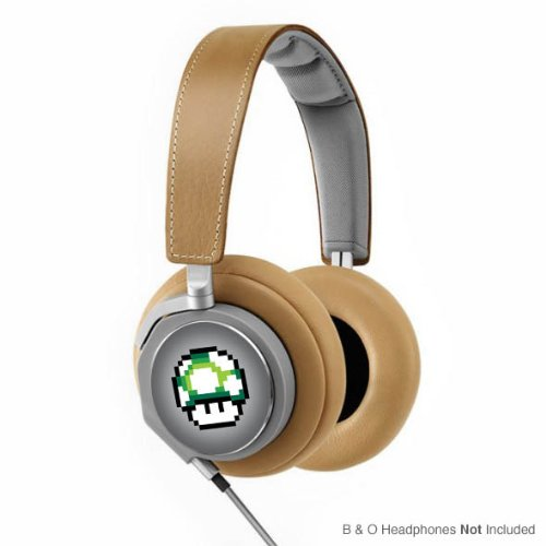 Retro 8-Bit 1-Up Mushroom Decal From Super Mario Brothers For Bang And Olufsen (Headphones Not Included)