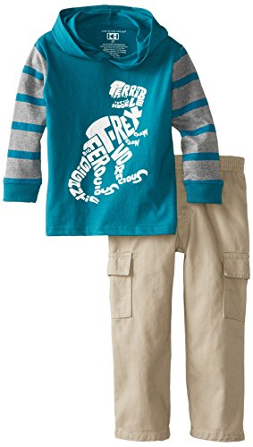 Kids Headquarters Little Boys' Hoody With Cargo Pants-T-Rex , Green, 5 front-736510