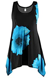 Jostar HIT Side Drop Tank Tunic with Print in Flower Design Turquoise Color in Large Size