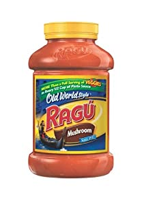 Ragu Pasta Sauce, Old World Style, Mushroom, 45 Ounce Bottles (Pack of 4)