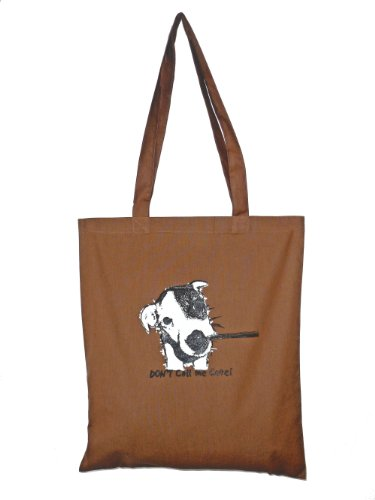 Cute 'Jack Russell' Cotton Tote bag. Brown. recycle!