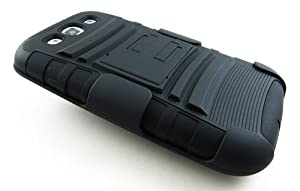 BLACK EXTREME RUGGED IMPACT ARMOR HYBRID HARD CASE COVER BELT CLIP HOLSTER SAMSUNG GALAXY S III 3 S3