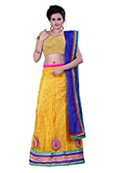 Sonika Yellow & Royal Blue Net 3 Piece Lehenga Choli