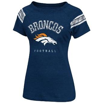 NFL Womens Denver Broncos Full Blitz Short Sleeve Raglan Open Neck Tee (Ath Navy Htr/Ath Gray Htr, Small)