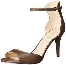 Nine West Women\'s Intooit Leather Heeled Sandal, Grey, 6.5 M US