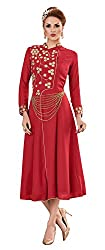 Angroop Womens Georgette Stitched Dress (Red)