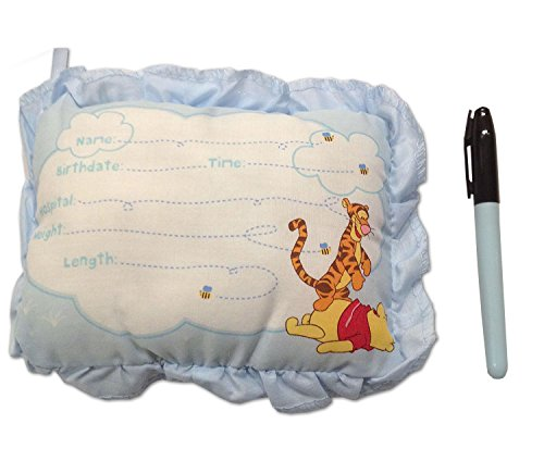 8 Inch Winnie The Pooh Birth Announcement Door Pillow With Pen in Blue/Baby Boy Keepsake