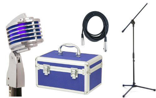 Heil The Fin (Blue) Microphone W/Hard Case, Stand, And Cable