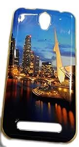 Premium Soft Fancy Gold Metallic Print Back Cover For Karbonn Quattro L50 - City Tower Design