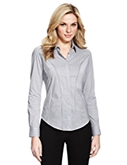 M&S Collection Cotton Rich No Peep™ Striped Corset Shirt