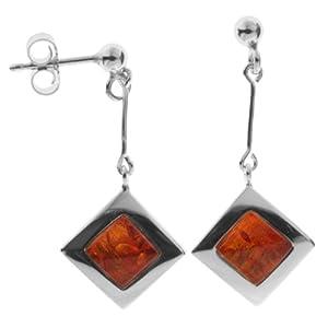 In Collections - 10263348100 - Boucles d'Oreilles Pendantes Femme - Argent 925/1000 4.30 Gr - ambre