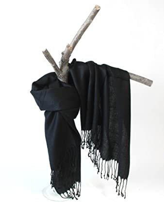 Black 1 The Scarf Shop Solid colors 100% Pashmina Scarf Shawl Wrap Stole in 20 Beautiful Colors for women
