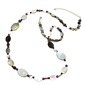 Abalone Shell, Mother of Pearl, Onyx & Amethyst Stone Beads Sterling Silver Long Necklace