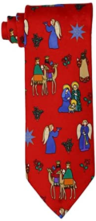 St. Nick's Tie Shop Men's Jesus Journey Necktie, Red, 57 Inch