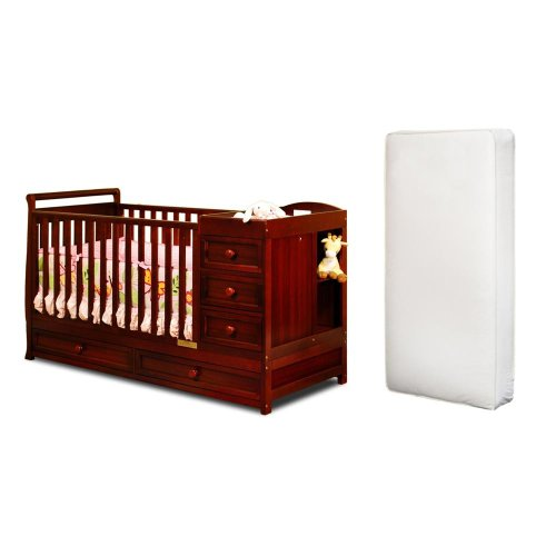 Baby Mile Catherine 3-In-1 Convertible Crib And Luxe Crib Mattress, Cherry front-835954