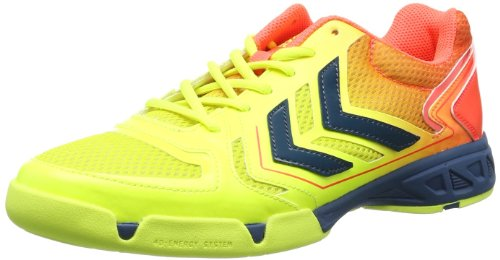 Hummel CELESTIAL COURT X5 60-057-5997 - Scarpe sportive Uomo, Multicolore (Mehrfarbig (Safety Yellow/Firey Coral 5997)), 43