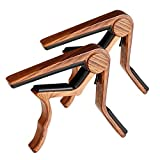 Guitar Capo, 2 Pack Capo for Acoustic and Electric Guitar 6 String, Ukulele Capo Tenor, Concert,Soprano, Baritone Wooden Color (Color: Rosewooden)