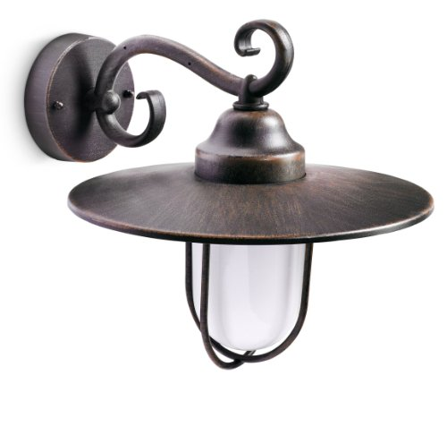 Philips Pasture Lampada da Parete per Esterno, Lanterna Down, in Alluminio, Colore Ruggine, Max 60 W