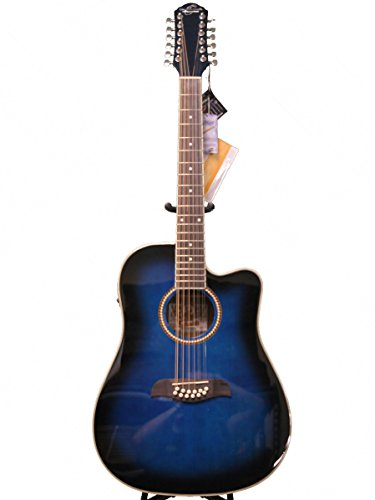get oscar schmidt by washburn 12 string acoustic electric guitar od312cettbl trans blue at. Black Bedroom Furniture Sets. Home Design Ideas