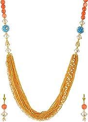 Jheeel International Festive Gold Crystal Chain Bead Carriers for Women (JIFJ0009)
