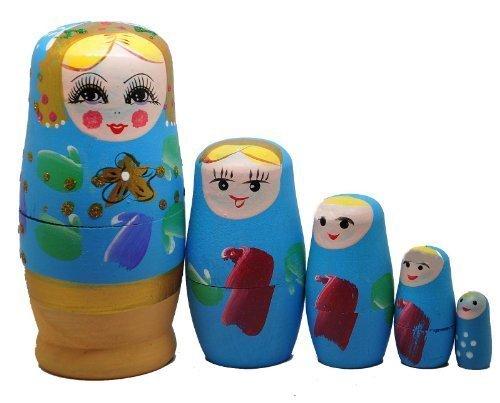 Blue Set of 5 Cutie Nesting Dolls Matryoshka Madness Russian Doll