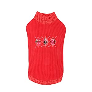 Catspia Argyle Round Neck Sweater for Cats and Small Animals, S, Red
