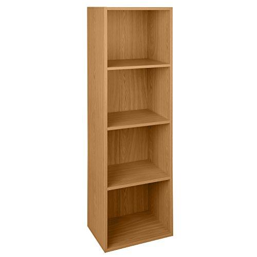 4 Tier Beech Wooden Bookcase Shelving Display Storage Wood Shelf Shelves Unit