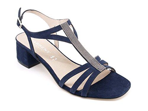 Carmens Padova sandali donna, tomaia pelle scamosciata blu/zaffiro con accessorio, tacco alto 4,5 cm. (EU 39)