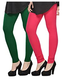 Kjaggs Women's Cotton Lycra Regular Fit Leggings Combo - Pack Of 2 (KTL-DB-8-15, Dark Green, Pink)