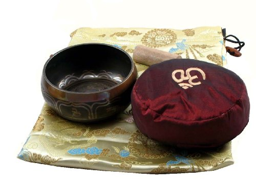 Singing Bowl Ivory Bag and Red Cushion Gift Set