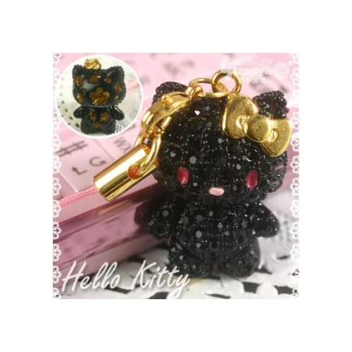 Sanrio Hello Kitty Pave Jewelry Cell Phone Charm (Black)