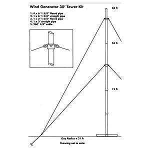 Sunforce 44455 Wind Generator 30' Tower Kit