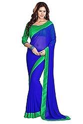 Blue Colour Georgette Lace Border Saree By RadadiyaTRD