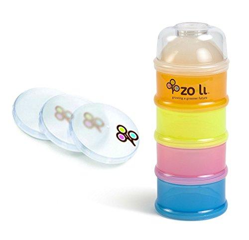 "Zoli ""On-the-Go"" Baby Bundle - 1 Formula & Snack Dispenser + 3 Lids - 1"