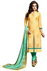 Craftliva Yellow Embroidery Chanderi Cotton Dress Material