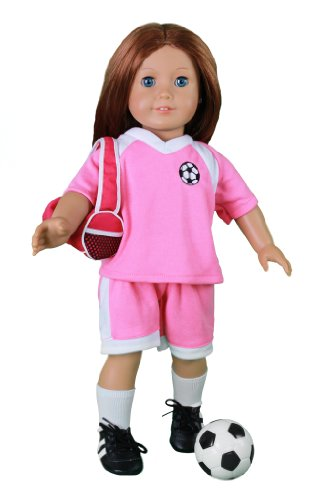 "Doll Clothes For American Girl Dolls: 6 Piece Soccer Star Outfit - ""Dress Along Dolly"" (Includes Shirts, Shirt, Socks, Cleats, Sports Duffle Bag, And Soccer Ball)"