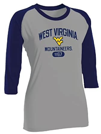 Buy NCAA West Virginia Mountaineers Ladies Baseball Tee by Russell Athletic