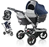 Jane Trider +Transporter Auto Carrycot + Strata Car-Seat - Blue Moon Blue/Grey